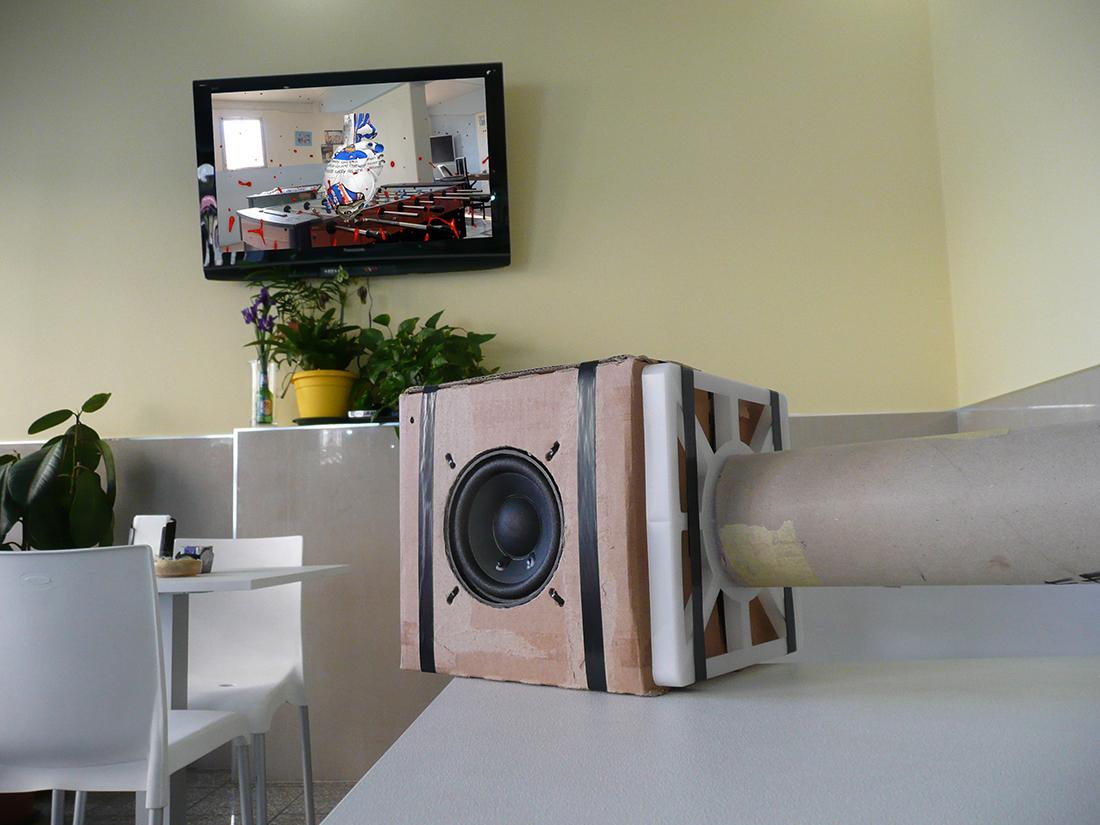 "JAN BROZ & RICHARD NIKL ""Radio Milano"", 2016 - Cardboard, vinyl, acrylic glass, electronics"