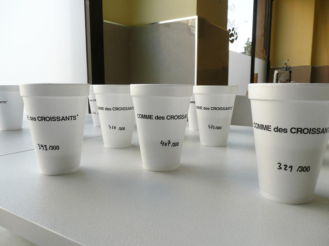 "LEON EISERMANN Special Edition Cups ""COMME des CROISSANTS*"" ed. of 300, styrofoam, coffee, 2014"